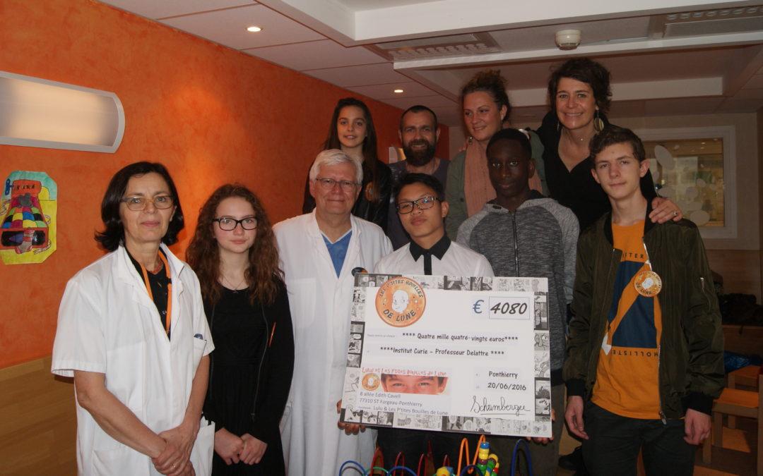 Un chèque pour Curie grâce au collégiens de Sainte Marie